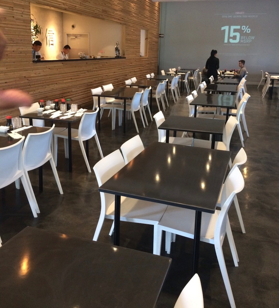 Restaurant tables tops usa cultured marble for Blue fish sushi thai